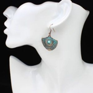 Jewelry - Copper Earrings With Blue Detail, New!